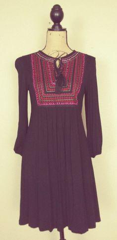 Janette Boho Chic Embroidered Mini Festival Dress sz L #Janette316 #Festive