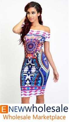 Off shoulder thin scuba bodycon dress in colorful axtec pattern.   Content: 96% Polyester 4%Spandex Package of 3 pieces: 1S, 1M, 1L per color only. Made in USA   - See more at: http://enewwholesale.com/c-27w67-blue.html#sthash.WBiqwFmI.dpuf