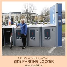 Cyc-lok - Access controlled modular bike parking lockers providing safety and security in a block of 12 lockers per unit equivalent to 1 car parking space. Bike Parking Rack, Car Parking, Bike Locker, Parking Solutions, Bicycle Safety, Bicycle Storage, Parking Space, Access Control, Location