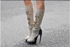 Glitter socks by Miu Miu