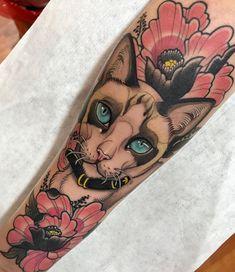 neotraditional sphynx cat tattoo by @javierfranko