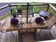 Holztisch Paletten Design-Ideen-Balkonmöbel