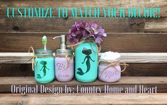 mermaid bathroom decor This is a painted mason jar bathroom set with mermaids! The mermaids are not painted on they are the bare glass. Each jar has been painted distressed and Little Mermaid Bathroom, Mermaid Bathroom Decor, Mermaid Bedroom, Mason Jar Bathroom, Bathroom Kids, Disney Bathroom, Kids Bath, Kid Bathrooms, Bathroom Stuff