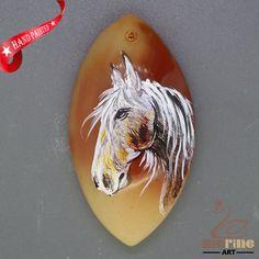 Gemstone Jewelry Pendant horse Necklace Hand Painted   ZL806037 #ZL #Pendant