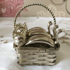 Set of Four Silver Metal Cat Napkin by florenceforeverfinds
