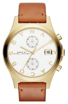 nice Montre pour femme : MARC BY MARC JACOBS Chronograph Leather Strap Watch, 38mm | Nordstrom