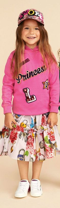 DOLCE & GABBANA Girls Pink Floral Butterfly Secret Print Skirt & Pink Princess Sweatshirt for Spring Summer 2018. Love this cute & pretty mini me look inspired by the D&G Women's Collection. Perfect Summer Streetwear Look for a little princess. Pretty Summer Look for a stylish kid, tween and teen girls. #dolcegabbana #girlsdresses #kidsfashion #fashionkids #childrensclothing #girlsclothes #girlsclothing #girlsfashion