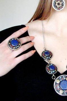 Afghan lapis lazuli ring Boho Ring Vintage ring Tribal
