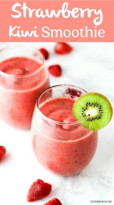 Strawberry Kiwi Smoothie – This smoothie is the perfect way to start the day! Th… Strawberry Kiwi Smoothie – This smoothie is the perfect way to start the day! The kiwi adds a beautiful, tart flavor. Everyone loves this! Strawberry Kiwi Smoothie, Apple Smoothies, Yummy Smoothies, Juice Smoothie, Breakfast Smoothies, Smoothie Drinks, Yummy Drinks, Healthy Drinks, Green Smoothies
