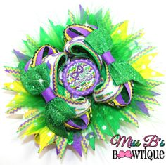 Mardi Gras Over the Top Hair Bow www.facebook.com/missbsbowtique05