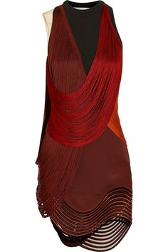 Stella McCartney | Fringed stretch-cady mini dress | NET-A-PORTER.COM