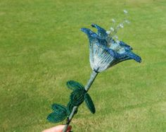 Steel Blue Shaded French Beaded Flower