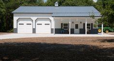 This garage was built for Phil & Judy of Eatonton, GA Special Features: Morton's Hi-Rib Steel Cupola Loft Door Windows w/ Shutters Fiberst. Metal Garage Buildings, Pole Buildings, Shop Buildings, Steel Buildings, Metal Garages, Pole Barn Shop, Pole Barn Garage, Garage House, Garage Shop