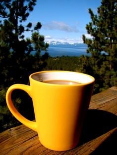 mmmmmm, coffee in the mornings outside with a view of the lake of the sky.  (sigh)  I miss living in south shore;  all the time.  Love the locals, friends from school, mountains, birds singing in the pines,  and that gorgeous lake.
