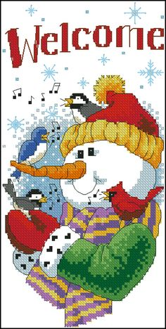 Snowman Welcome Christmas Gifts For Friends, A Christmas Story, Christmas Cross, Christmas Snowman, Cross Stitch Designs, Cross Stitch Patterns, Cross Stitching, Cross Stitch Embroidery, Snowman Cross Stitch Pattern