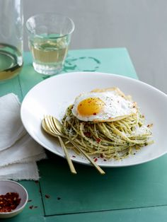 Pistachio and Mint Pesto Spaghetti with a Fried Egg