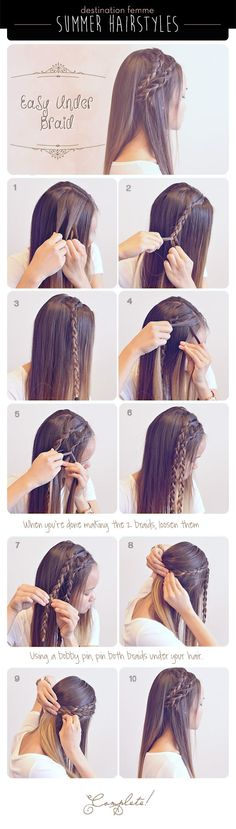 Easy Under Braid Hairstyle Step by Step Tutorial! :-)