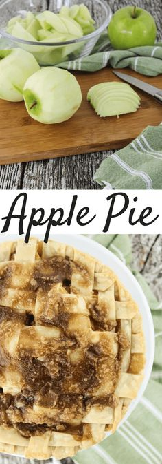 Apple Pie, easy apple pie Apple Pie made with fresh Granny Smith green apples with cinnamon and caramel filling in a flaky pie crust. Recipe adapted from Audrey's Apron Green Apple Pie Recipe, Granny Smith Apple Pie Recipe, Green Apple Recipes, Apple Pie Recipe Easy, Apple Dessert Recipes, Delicious Desserts, Tart Recipes, Homemade Food Gifts, Homemade Apple Pies