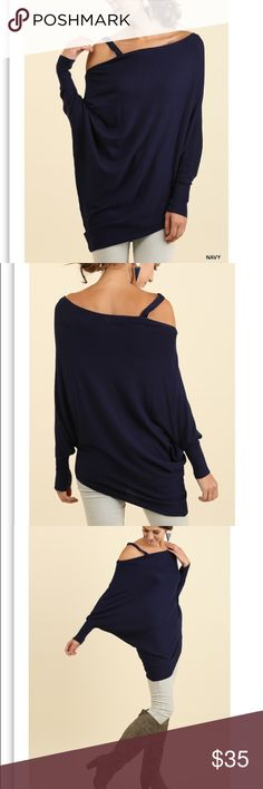 🎀 Gorgeous Batwing Sleeve Light Sweater Gorgeous asymmetrical light sweater with batwing sleeve in navy color. Directly from maker, no tags attached. 🚨Bundle and get 15% off! 🚨 Sweaters