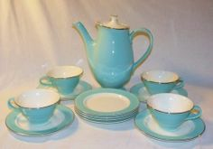 Vintage Mid Century China 14 PC Turquoise Coffee Pot Serving Set | eBay