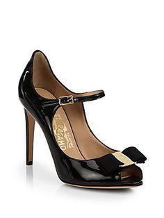 Salvatore Ferragamo Mood Patent Leather Peep-Toe Mary Jane Pumps