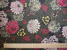Tissu vendu par 25cm: coton tana lawn Liberty of London, motif Meandering Chrysantemums, vert fonce