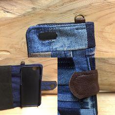 6-20 送料込み  ビンテージ デニム リメイクパッチワーク本革iPhone6.6s手帳型カバーケース スマホケース