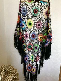 olorful Crochet Shawl | Boho Gypsy Shawl | Hippie Patchwork | All Season Fashion | Handmade |%100 cotton-merserized