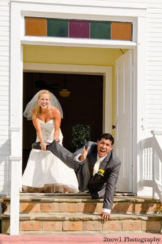 At the ceremony site, take a picture of the groom trying to run away and the bride pulling him back.