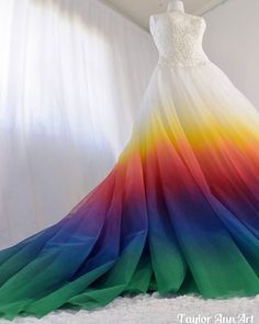 02af133b6818 Rainbow Wedding Dress | Dress Coloring Service | Fabric Painter | Colorful Wedding  Gown Alterations Colored