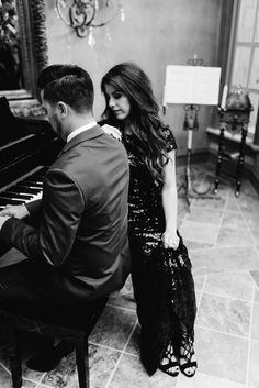 Engagement Photography #mitchellandmarie #thejettset #engagement #photography #elegant #formal #piano #pictures #weddings #outsideweddings #outside #mountain #suit #dress #black #sequins #katiebarnett #vividdreamphotography #Oklahoma #Louisiana #winter #christmas #tie