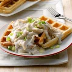 Classic Chicken & Waffles Leftover Rotisserie Chicken, Leftover Chicken Recipes, Cheap Chicken Recipes, Chicken Meals, Cooked Chicken, Chicken And Waffles, Waffle Recipes, Duck Recipes, Southern Recipes
