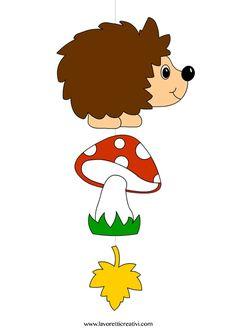 Pendente con riccio, fungo e foglia da attaccare sulle finestre o sulle pareti della classe nel periodo autunnale. LAVORETTI AUTUNNO Addobbi autunno Materi