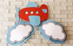 Flying High, Airplane and Clouds Centerpiece Set or Table Decor in Red, White, and Blue for Birthday or Baby Shower