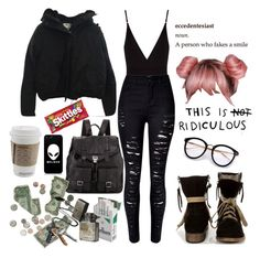 """I'm the girl in the back with the glass, pink hair but I'm wearing all black"" by vampirata ❤ liked on Polyvore featuring MTNG, Acne Studios, Osklen, Proenza Schouler and Stolen Girlfriends Club"