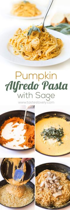 Creamy Pumpkin Alfredo Pasta with Sage - a delicious and FAST 10 minute fall dinner!