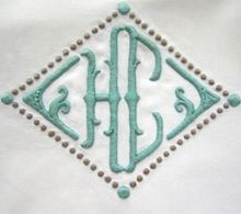 2 letter monogram in diamond with extra detailing
