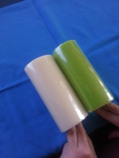 mini rolls of green and cream tulle