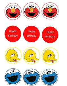 Sesame street digital file printable cupcake toppers, tags, DIY on Etsy, $3.00