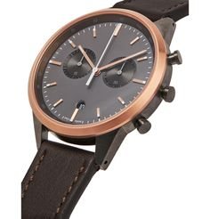 Uniform Wares Chronograph Stainless Steel And Leather Watch In Black Uniform Wares, Dark Brown Leather, Stainless Steel Case, Chronograph, Quartz, Mens Fashion, Watches, Accessories, Black