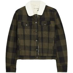 Rag & bone JEAN Fleece-trimmed checked denim jacket (3.655 ARS) ❤ liked on Polyvore featuring outerwear, jackets, tops, coats & jackets, army green, army green denim jacket, olive green jean jacket, olive green denim jacket, olive jacket and army green jean jacket