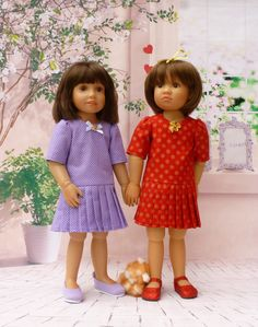 Short sleeved dress, dropped waisted with pleated skirt Pattern  for Kidz 'n' Cats Dolls #19 by WellyBs on Etsy https://www.etsy.com/listing/207260783/short-sleeved-dress-dropped-waisted-with
