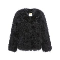Fluffy Fur Fever Jacket Classic Black (145 CAD) ❤ liked on Polyvore featuring outerwear, jackets, black feather jacket, black jacket, black fur jacket, fur jacket and feather jacket