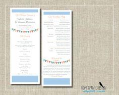 Printable Wedding Program - Tall Fun Flag Banner Blue - Custom Colors