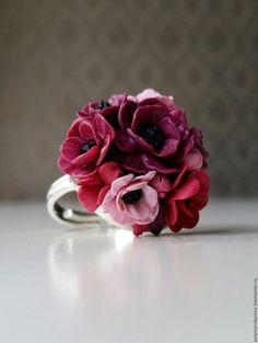 Купить Кольцо Анемоны - бордовый, кольцо ручной работы, кольцо, украшения ручной работы