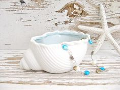Jewelry dish shell candle holder small white shell bowl