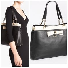 """KS Hancock Park Maryanne leather shopper Gorgeous black leather bag with tan bow and trim; 15-karat polished gold hardware.  Chain detail at handles, footed bottom. Magnetic snap, interior zip divider, wall pockets. 11"""" h X 15""""w X 5"""" deep. kate spade Bags Shoulder Bags"""