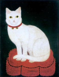 Tinkle the cat on red pillow | oil painting, 1883  | artist  unknown [Shelburne Museum,  Vermont]