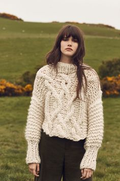 Loopy Mango Snow Cropped Fisherman Sweater at Free People Clothing Boutique