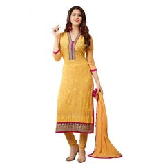 Gorgeous Yellow Coloured Embroidered  Salwar Kameez